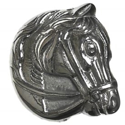 "1-1 Face designs - Horse - White metal -  Realistic (1-1/4"")"