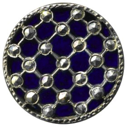 "4-3 OME - Marcasites - Cobalt background - Silver lattice (7/8"")"