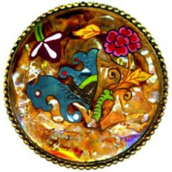 "8-4 Design Under Glass (DUG) - Reverse Painted Pearl Tesserae (1-3/8"")"
